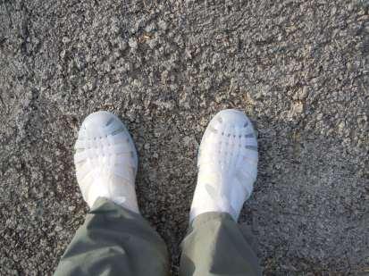 Brand-new jelly slippers, Mo'orea, Society Islands, 2013