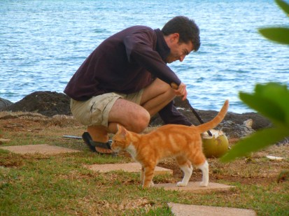 With Mo'o, the Gump Station cat who now lives in America, 2013. Photo: Erica Newman