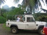 Ravahere Taputuarai (Délégation à la Recherche), Shane McEvey (Australian Museum), and Jean-Yves Meyer (Délégation à la Recherche; driving), Hiva Oa, Marquesas Islands, 2007