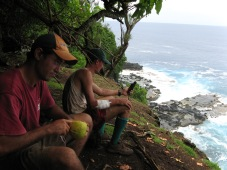 Rava and Jean-Yves at lunch break, Me'eti'a, Society Islands, 2008