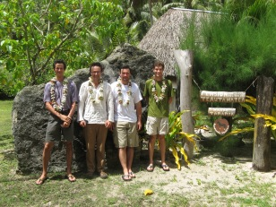 Jean-Yves Meyer (Délégation à la Recherche), Mat Prebble (ANU), Nick Porch (ANU, now Deakin), and David Hembry (UC Berkeley), Pension Teautamatea, Rurutu, Austral Islands, 2008