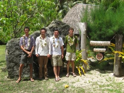 Jean-Yves Meyer (Délégation à la Recherche), Mat Prebble (ANU), Nick Porch (ANU, now Deakin), and David Hembry (UC Berkeley), Pension Teautamatea, Rurutu, Austral Islands, 2008
