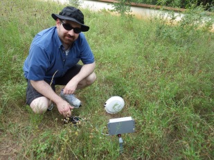 Dan field-tests a flower observation camera, Brackenridge Field Laboratory, Austin, Texas