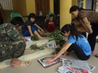 Pressing plants at Me Linh Biodiversity Station, Vietnam, 2014