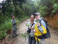 Mr. Ping (Dialuoshan Nature Reserve), Lianjie (South China Botanical Garden) and Erica (UC Berkeley), Dialuoshan, Hainan, China