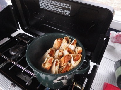 Tamales while camping in Davis Mountains State Park, Texas