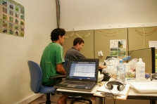 In the office at Gump Station with Ravahere Taputuarai, 2008